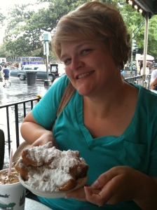 Me in New Orleans getting ready to eat some beignets at Cafe Du Monde.